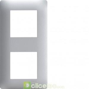 Essensya Plaque 2 postes entr.71 Titane WE492 Hager Essensya Hager