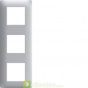 Essensya Plaque 3 postes entr.71 Titane WE493 Hager Essensya Hager