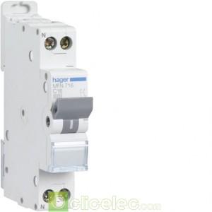 Disjoncteur 1P+N 3kA C-16A 1M MFN716 Hager Disjoncteurs PH+N