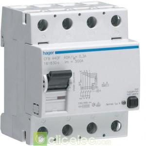 Inter dif 4P 40A 300mA B - CFB440F Hager Interrupteur Différentiel