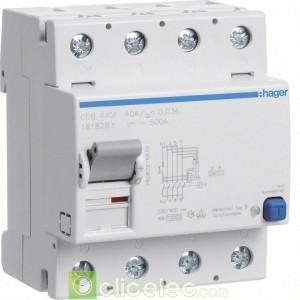Inter dif 4P 40A 30mA B - CDB440F Hager Interrupteur Différentiel