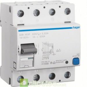 Inter dif 4P 63A 30mA B - CDB463F Hager Interrupteur Différentiel