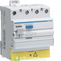 Interrupteur différentiel 3P+N 40A 30mA AC BD - CDC840F Hager