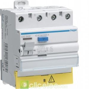 Inter dif 3P+N 40A 30mA AC BD - CDC840F Hager Interrupteur Différentiel