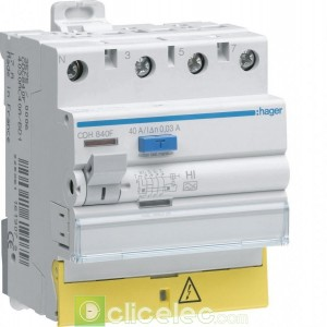 Inter dif 3P+N 40A 30mA HI BD - CDH840F Hager Interrupteur Différentiel