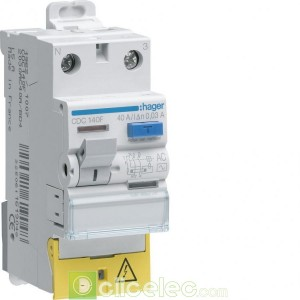 Inter dif 1P+N 40A 500mA AC BD - CGC140F Hager Interrupteur Différentiel