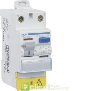 Inter. diff. 2P 40A 30mA AC bor déc 60Hz - CDC749F Hager Interrupteur Différentiel
