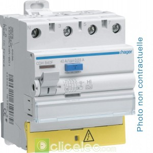 Inter dif 3P+N 40A 100mA AC BD - CEC840F Hager Interrupteur Différentiel