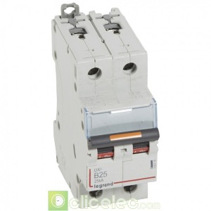 DX3 2P B25 25KA 409718 Legrand Disjoncteurs PH+N