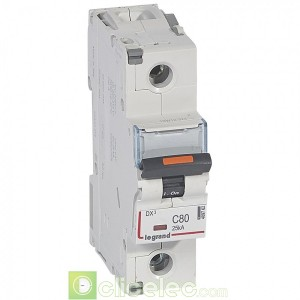 DX3 1P C80 25KA 409762 Legrand Disjoncteurs PH+N