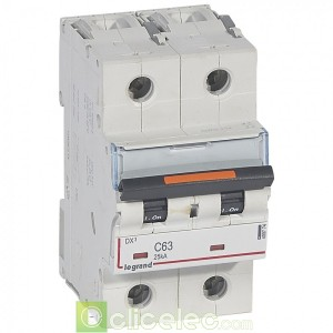 DX3 2P C63 25KA 409774 Legrand Disjoncteurs PH+N