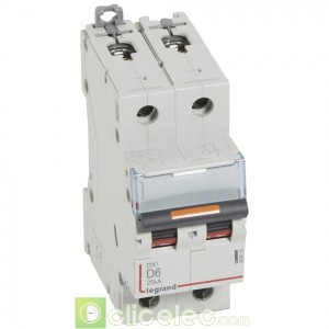 DX3 2P D6 25KA 409818 Legrand Disjoncteurs PH+N