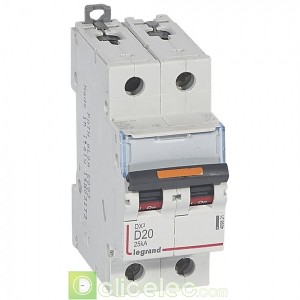 DX3 2P D20 25KA 409821 Legrand Disjoncteurs PH+N