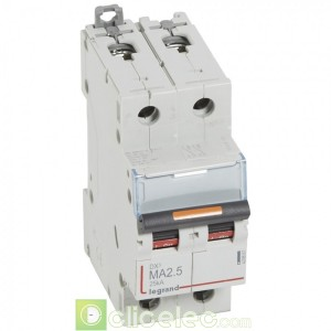 DX3 2P MA2.5 25KA 409867 Legrand Disjoncteurs PH+N