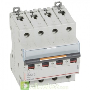 DX3 4P MA2.5 25KA 409887 Legrand Disjoncteurs PH+N