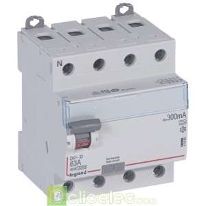 DX3-ID 4PG 63A A 300MA - 411686 Legrand Interrupteur Différentiel